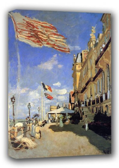 Monet, Claude:  Hotel des Roches Noires at Trouville. Fine Art Landscape Canvas. Sizes: A3/A2/A1 (00757)